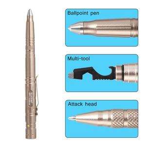 Image 2 - Hot Multi function Tactical Pen Survival Military LED Flashlight Glass Breaker Self Defense Tool Ballpoint Pens NK Shopping