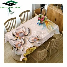 GOANG 3D tablecloth waterproof dustproof Thicken rectangular and round table cover home decoration Emboss Flowers