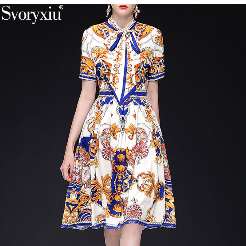 Svoryxiu 2019 New Summer Runway Vintage Dress Women s Elegant Bow Collar Gold Pattern Print Slim