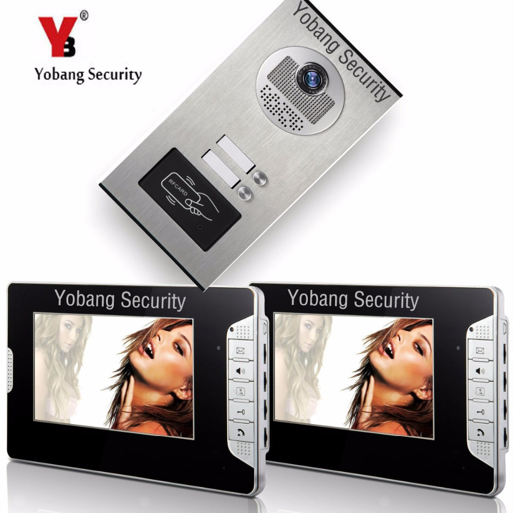 YobangSecurity 2 Units Apartment 7Inch Wired Video Door Phone Doorbell Intercom Entry System With RFID Access Door IR Camera yobangsecurity wired video door phone 7 inch lcd video doorbell door chime home intercom system kit with rfid access ir camera