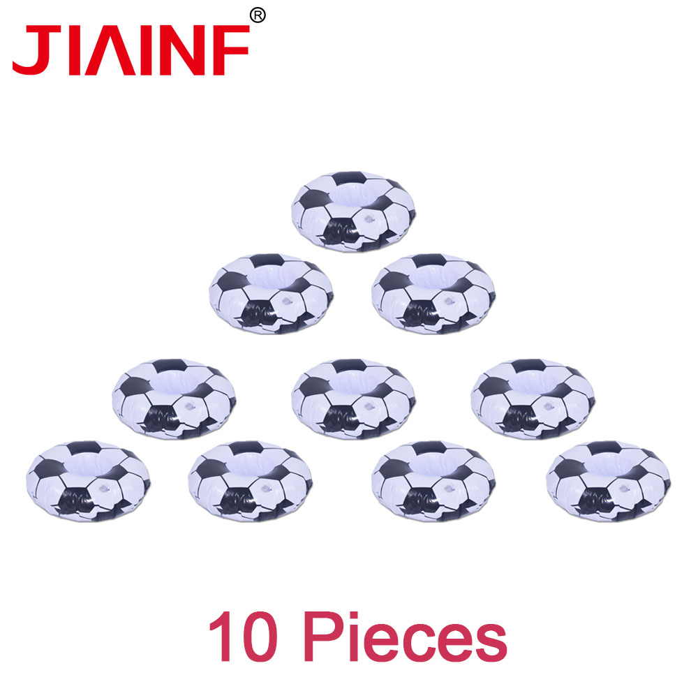 JIAINF 10 Pcs Soccer Drink Holder Inflatable Pool Float Swimming Pool Party Decoration Kids Bathing Classic Football Beverage