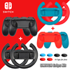 10 in 1 Nintend Switch Joystick Accessories Kit with Racing Steering Wheel Handle Grips Analog Caps for Nintendo Switch Joy-con