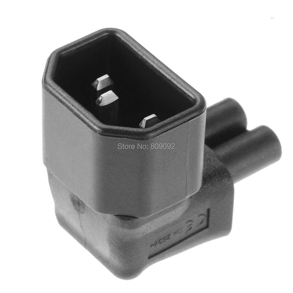 Right Angle 90 Degree IEC 320 C14 Male Plug to C5 Female Power Adapter Converter