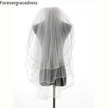 Forevergracedress Новое поступление слоновая кость белая лента край Многослойные Свадебные аксессуары фатин Свадебная Фата с расческой