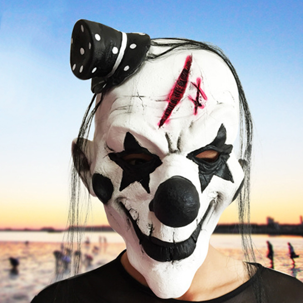 Horror Mask Black and White Scary Clown Mask Full Face Cosplay Horror Masquerade Adult Ghost Mask