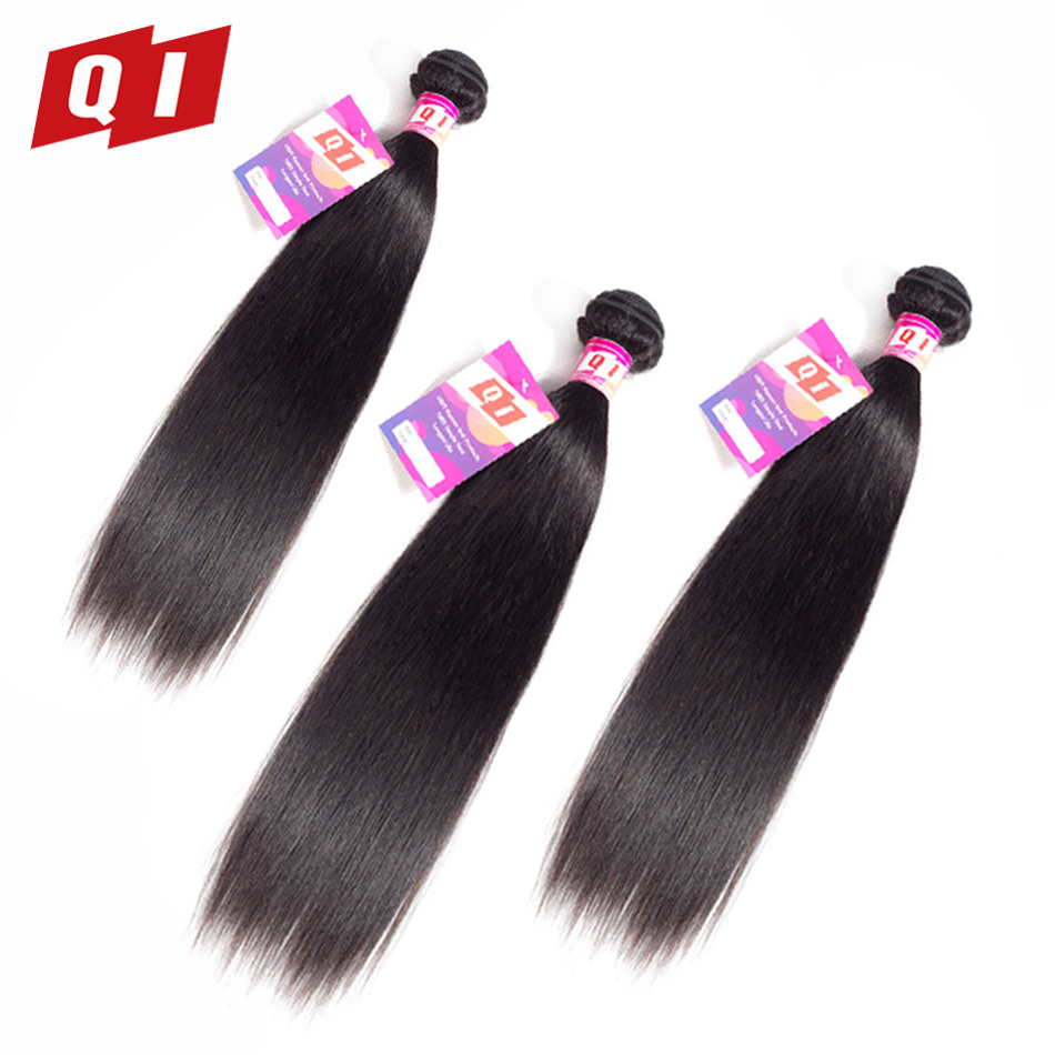 QI Hair Pre-Colored Mongolian Straight 3 Bundles Non Remy Natural Color 8- 26 100% Human Hair Non Remy Extensions
