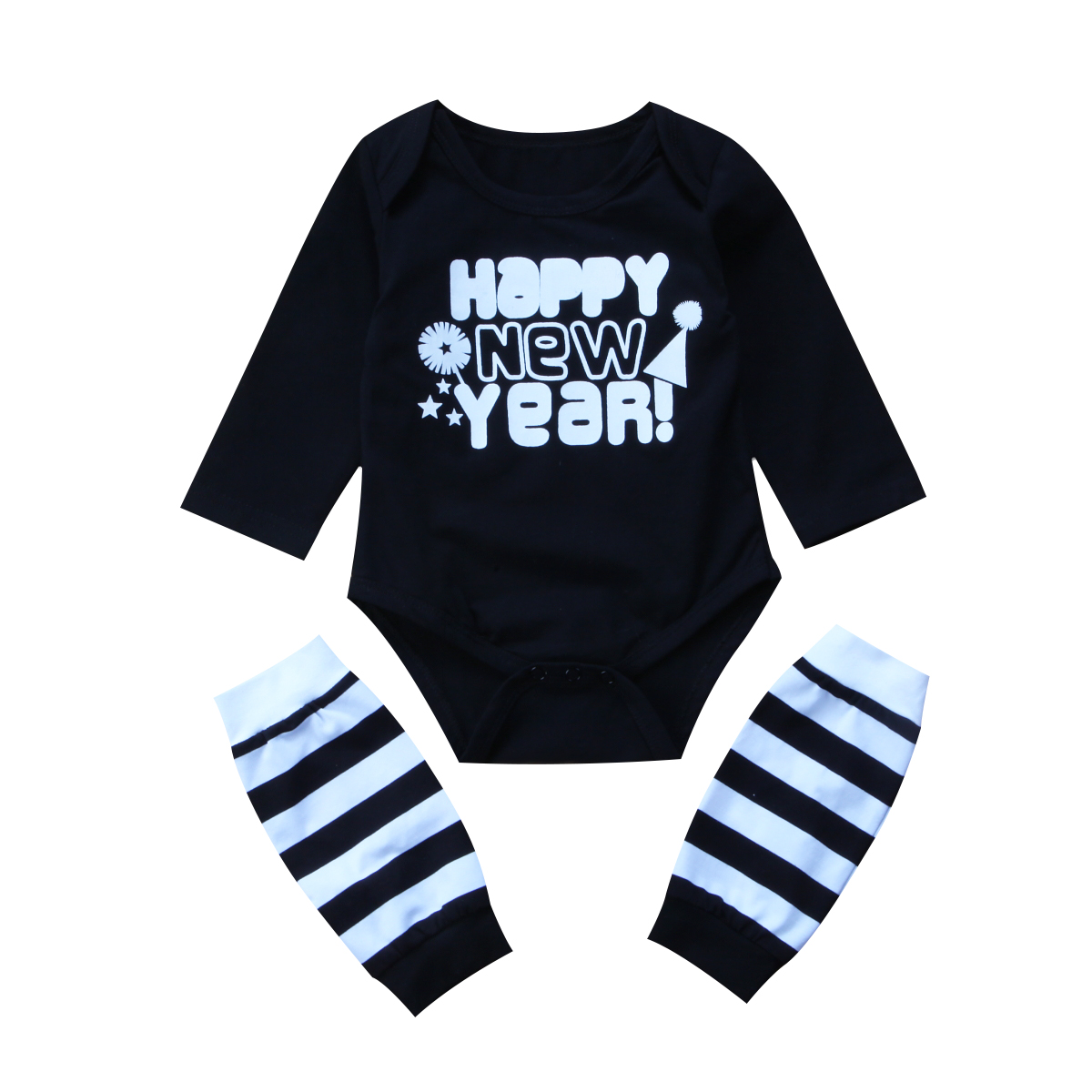 Happy new year baby boys girls clothes set Newborn Baby letter Romper Tops+Leg Warmer 2P ...