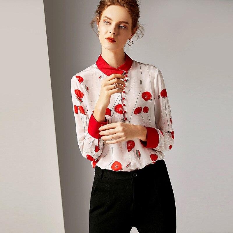 Du Haut Manches Longues Imprimer Au À De Chemise Mode Printemps Gamme Réel Femme Femmes Blouse Picture R10087 Soie 2019 100 Début Nouveau Color Tops Luxe xOzEwqw7C