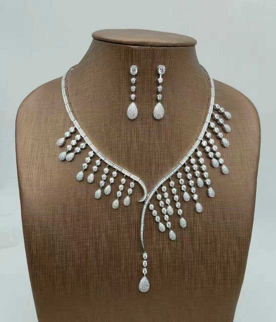 цена на ALW fashion sexy formal dress accessories necklace earrings set zirconium CZ stone drop of water