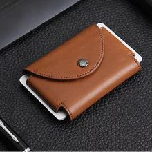 Wholesale Anti-theft Card Holder Id Holders Metal Crazy Horse PU Credit Porter Ordering Wallet Mini