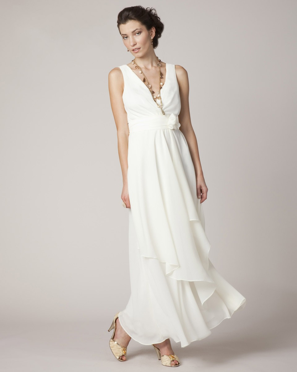 Sexy V Neck Long White Chiffon Plus Size Mother Of The ...