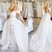 Cap Sleeves Wedding Gowns Sexy V Neck Appliques Lace Tulle Wedding Dress Vestido De Noiva Bridal Dresses 2019