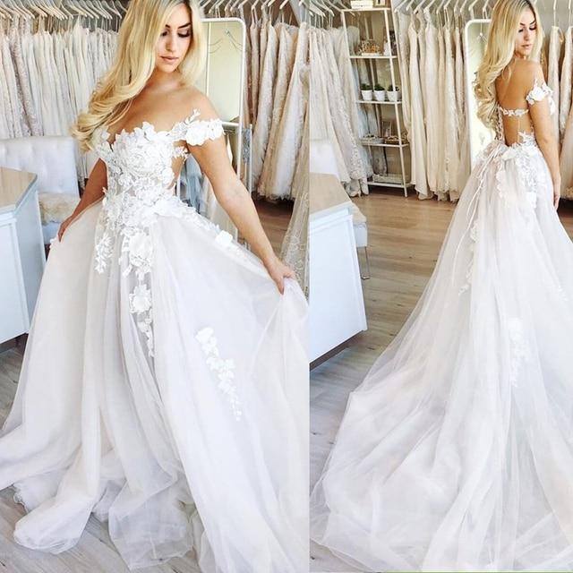 Cap vestidos De novia con mangas Sexy cuello pico apliques encaje tul Vestido De novia vestidos De novia 2019