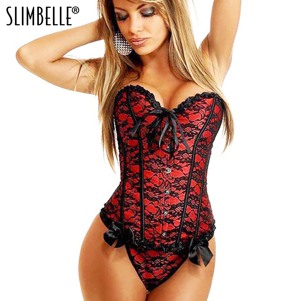 Women Steampunk Gothic Brocade Plus Size Overbust   Corset   Top Lace up Floral Sexy Lingerie S-6XL Shapewear   Corsets   and   Bustiers