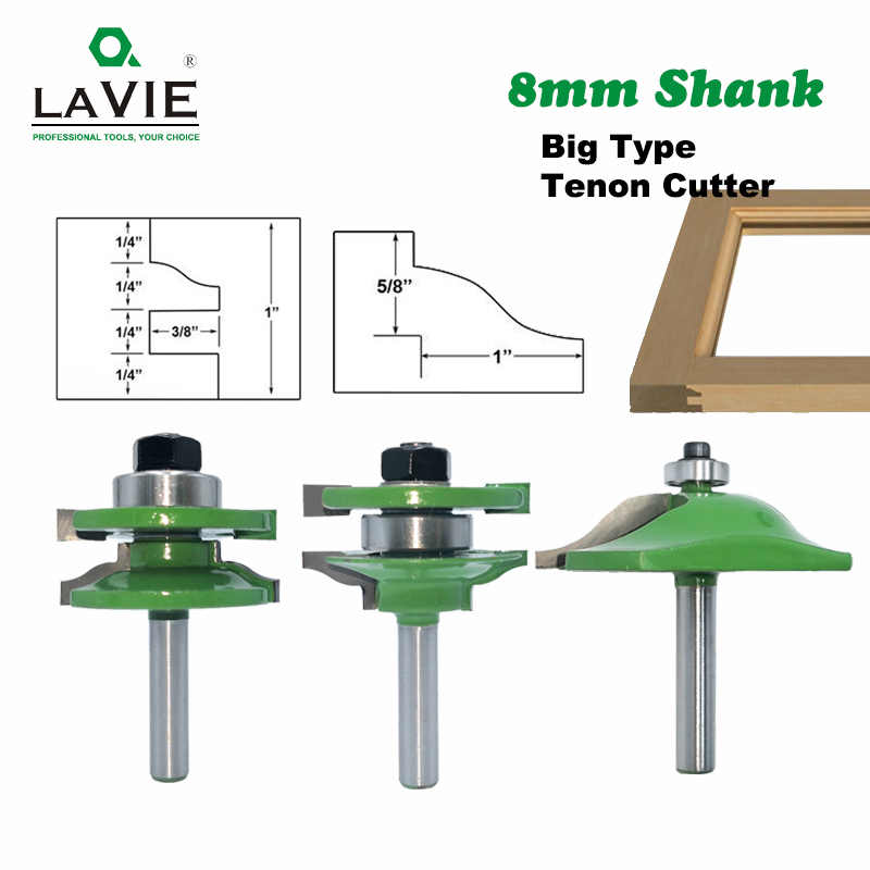 LAVIE 8mm gambo 3 pezzi grande armadio Rail & Stile Tenon Router Bit Set porta armadio pannello Raiser breadfresa per legno MC02040