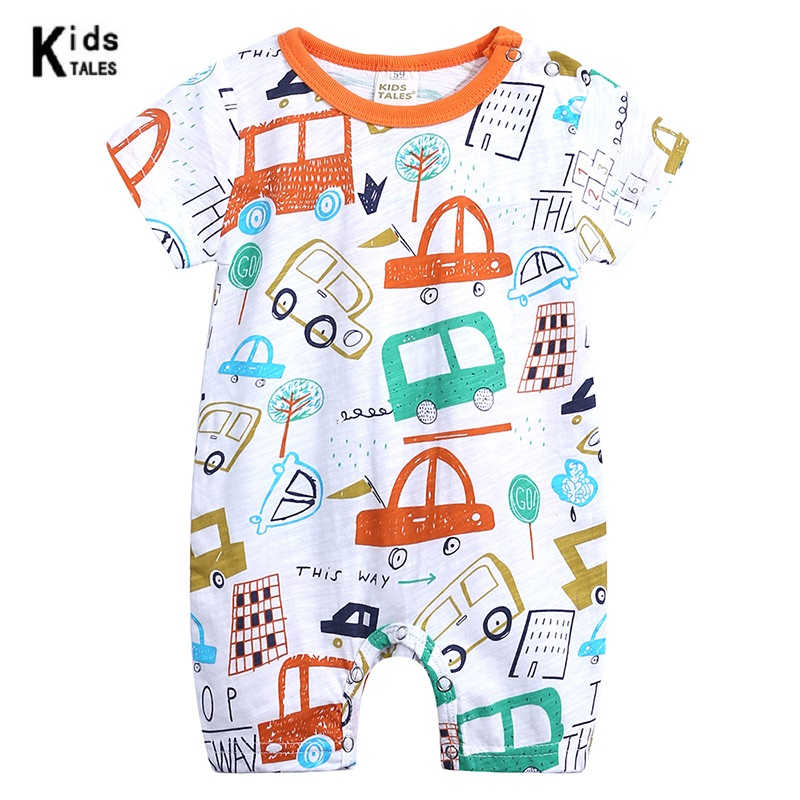 0 18M Baby girl boy Clothes O neck Baby Rompers cute infant Newborn Girl short Sleeve Baby Cartoon picture print rompers in Rompers from Mother Kids