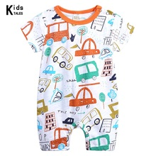 0-18M Baby girl boy Clothes O-neck Rompers cute infant Newborn Girl short Sleeve Cartoon picture print rompers