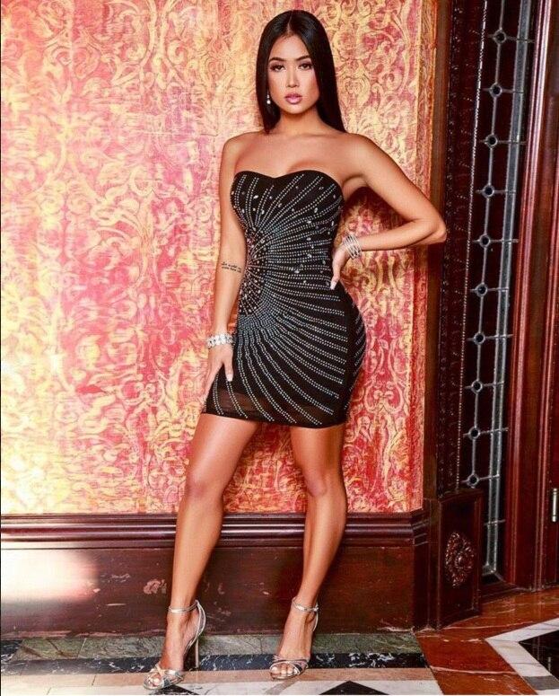 Sans Picture Party Été Lacée Courtes Celebrity 2019 As De Diamant Robe Nouveau Moulante Bretelles Manches Noir Femmes Sexy Robes aUwwqYvOx