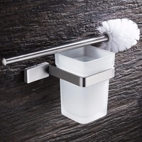 Free Shipping Stainless Steel Toilet Brush Holder With Frosted Glass Cup Bathroom Accessories