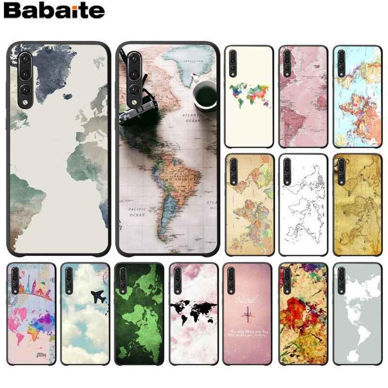 Babaite السفر في العالم خريطة الطائرة خطط أسود TPU لينة الهاتف غطاء لهواوي Mate10 لايت P20 برو P10 زائد الشرف 9 10