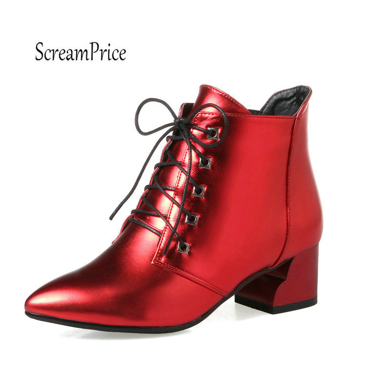 Lace Up Ankle Boots For Women Thick High Fashion Pointed Toe Martin Boots Autumn Winter Shoes Woman Black Red White enmayes ankle boots denim boots for women pointed toe buckle high boots new summer boots platform fashion wedding banquet martin