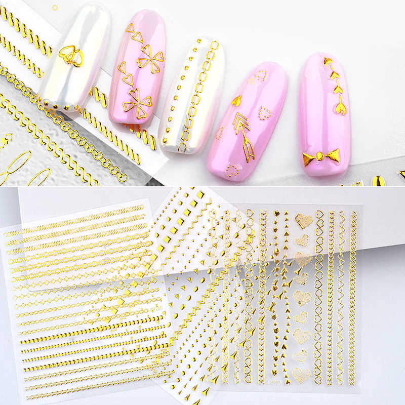 1 Sheet Gold Metal Chains Nail Stickers Mix Wave Heart Bow 3d Golden Metallic Adhesive Sticker DIY Manicure Nail Art Decorations