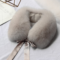 Harppihop*2019 Fashion Fur Scarf Real Raccoon Dog Fur Collars with Ribbon Real Fur Stole for Wool Coats 48CM