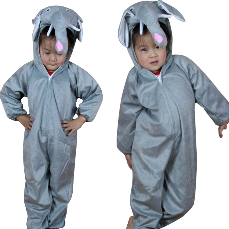 Gray Elephant Child Costume Animal Cosplay Costumes Jumpsuit Children's Day Kids Performance Clothes