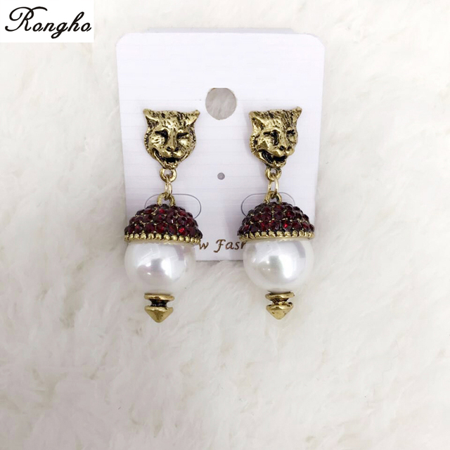 New Vintage Crystal Leopard Stud Earrings for Women Fashion jewelry Pearl earrings Pendant Antique gold brincos & New Vintage Crystal Leopard Stud Earrings for Women Fashion jewelry ...