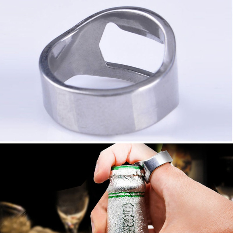 25.5mm Cool Ring Unique Creative Versatile Ring-Shape of Beer Bottle Stainless Steel Finger Ring Opener
