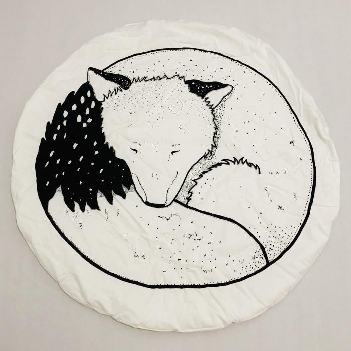 95 см детская игра коврики круглый коврик, мат хлопок Лебедь Ползания одеяло пол ковер для детской комнаты украшения INS подарки для малышей - Цвет: New Fox