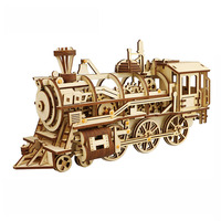Hot Creative DIY Laser Cutting 3D Mechanical Train Car Model Wooden Puzzle Game Assembly Toy Gift for Children Teens Adult LK