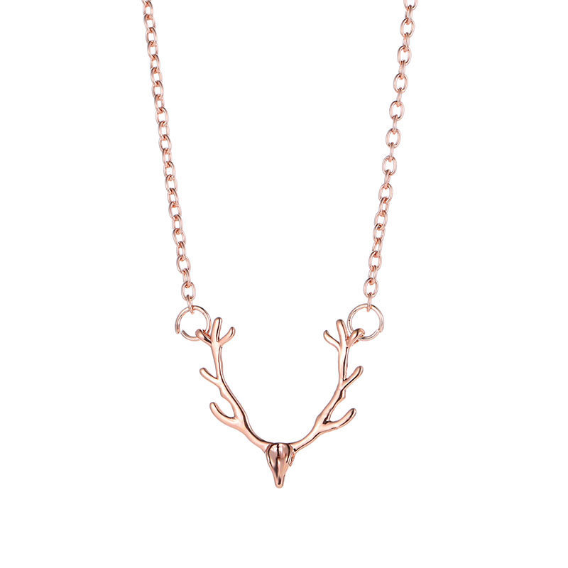 2018 Trendy Christ Christmas Little Antlers Deer Head Elk Necklace Alloy Animal Necklace Women's Fashion Jewelry Wholesale
