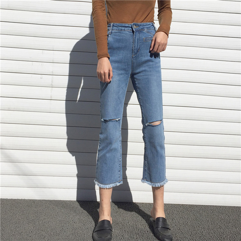 The Quality of The Broken Hole In The Jeans Ladies Trousers 2017 Fashion Women s Pants