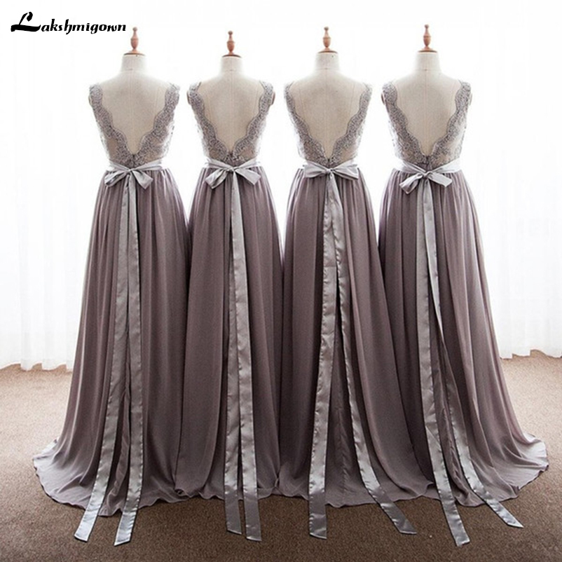7d1d98cde872 2018 Elegant Gray Bridesmaid Dresses Chiffon V Neck Appliques Lace Floor  Length Backless Long Bridesmaid Gowns With Ribbon Bow-in Bridesmaid Dresses  from ...