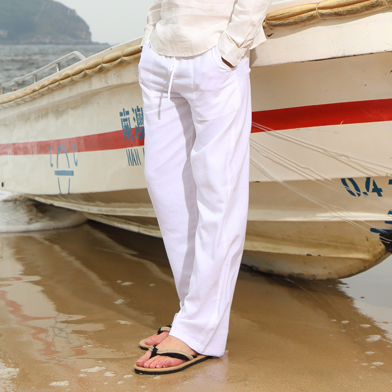 Spring And Summer Men Fashion Brand Chinese Style Cotton Linen Loose Pants Male Casual Simple Thin White Straight Pants Trousers(China)
