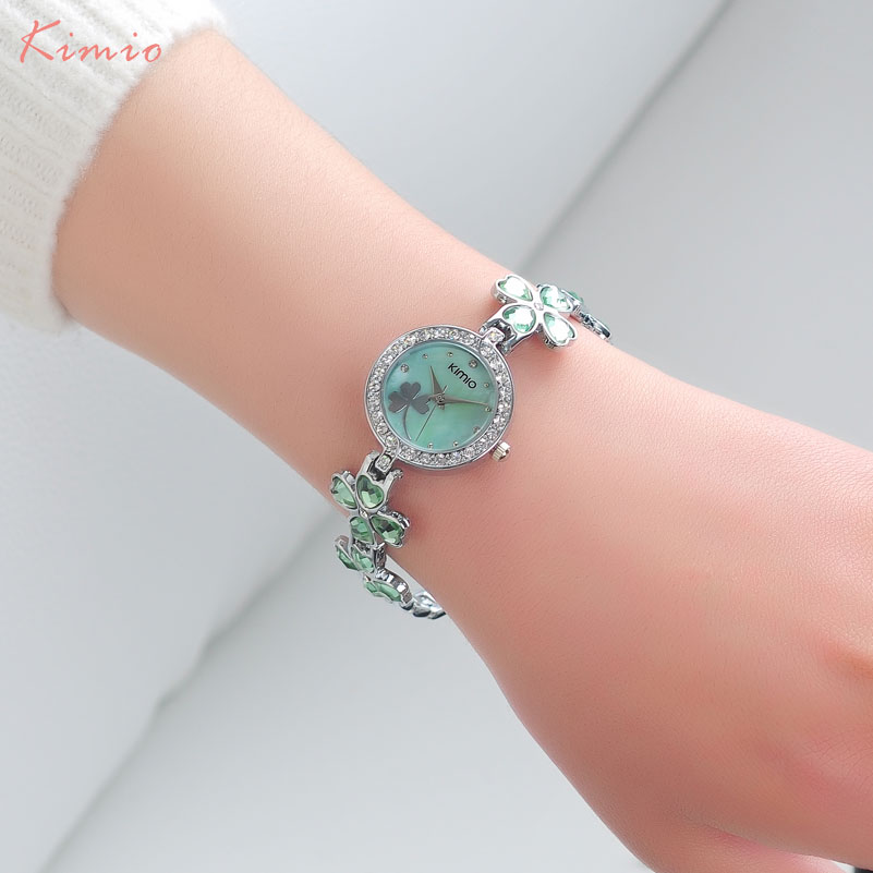 KIMIO women quartz watches luxury analog bracelet dress watch fashion brand ladies blue pink wristwatches 2018 hot girl's clock free shipping kezzi women s ladies watch k840 quartz analog ceramic dress wristwatches gifts bracelet casual waterproof relogio