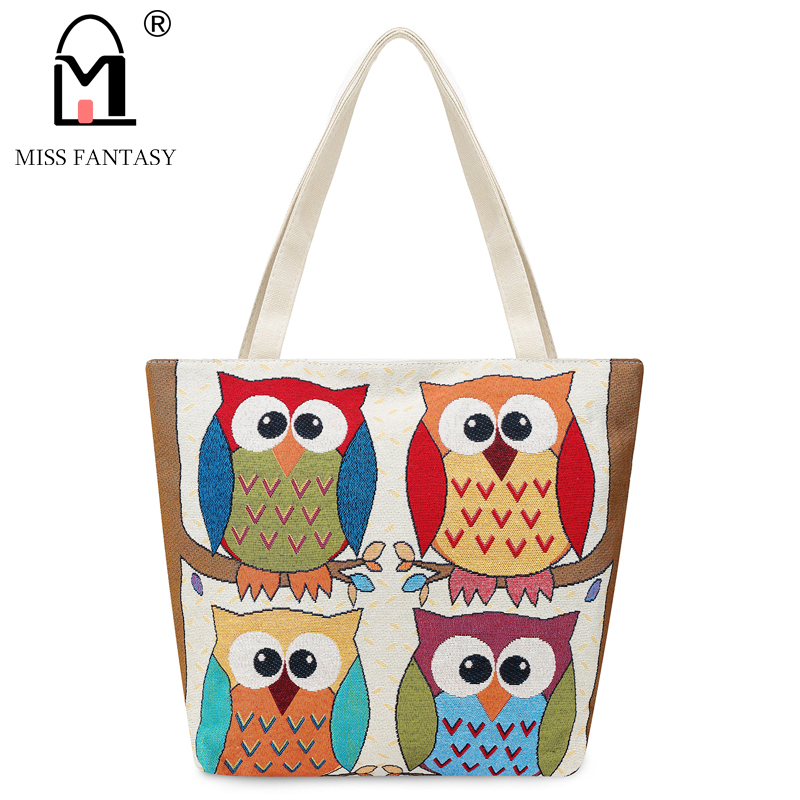 MISS FANTASY Women Bag Women's Canvas Handbag  Embroidery Owl Tote Lady Shopping