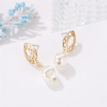 High Quality Popular Geometric Yagin Pearl Earrings Korean Round Hollow Birthday Gift