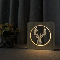 Cute Elk night light Animal 3D Acrylic lamp wood Lamp as Lights for kids gift Christmas gift special decoration