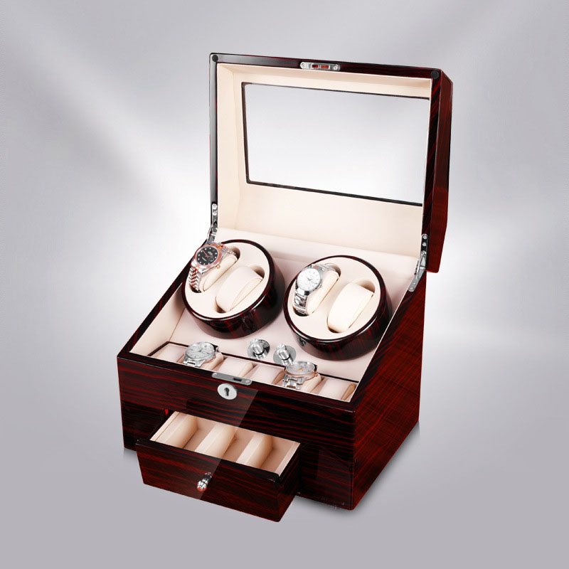2020 nouveau Design 4 montres remontoir 10 montres stockage affichage tiroir laque bois luxe utilisation mondiale cadeau serrure en gros drop envoyer