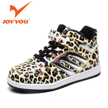 JOYYOU Brand Children Shoes Fashion Leopard Boots Kids Ankle Boots For Boys Girls High Top Shoes
