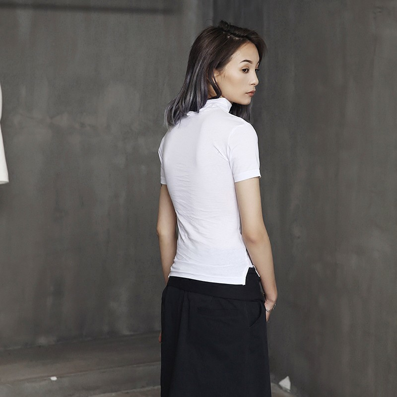 [EAM] Women White Brief Vent Cool High Elastic T-shirt New Turtleneck Short Sleeve  Fashion Tide  Spring Summer 2020 JL447 4