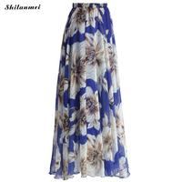 2017 Women Long Skirt Summer Beach Bohemian Skirts High Waist Saia Plissada Vintage Floral Print Pleated