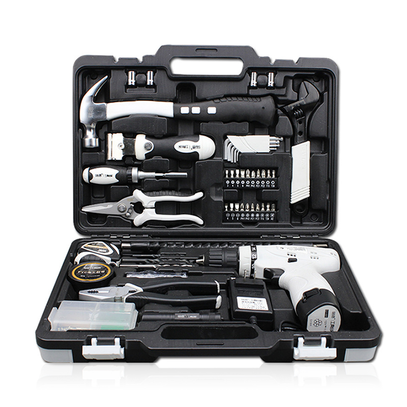 86PCS Household Hardware Kit 12V Lithium Drill Electric Screwdriver Set Hand Instrument Set With Plastic Box For Repair household product electric enclosure plastic mould factory