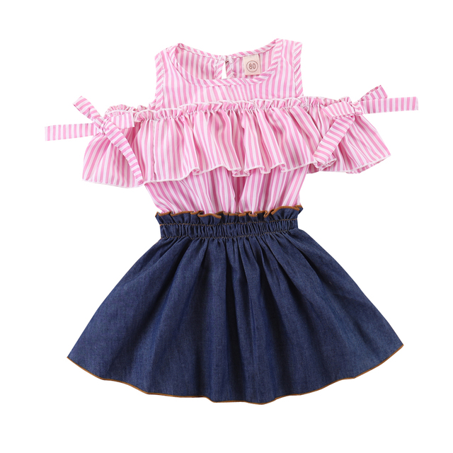 134d8a468 Baby Girls Plaid Ruffle Bowknot Top+Jeans Denim Skirts Back to School Toddler  Girls Clothes Outfit