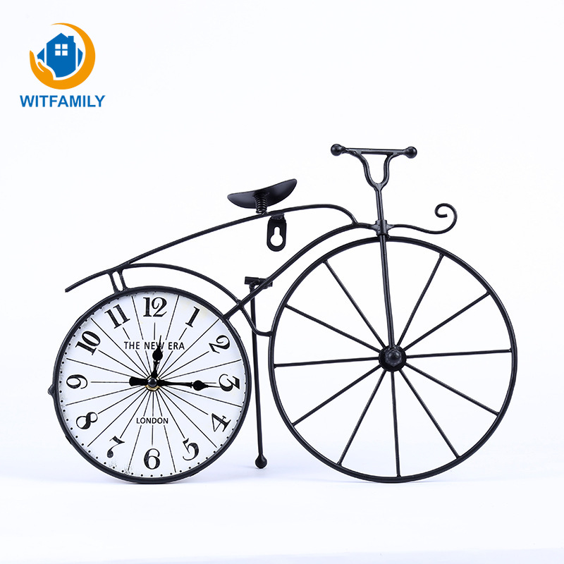 Retro Bicycle American Creative Alarm Clock Wrought Iron Home Bedroom Decoration Set Table Clock Personality Gift Retro Clock