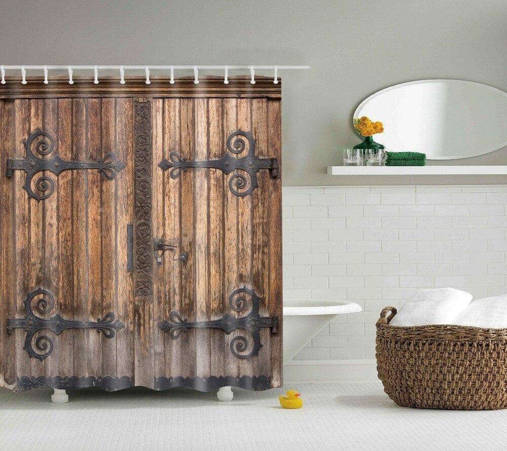 Online Shop LFH Wooden Barn Door Shower Curtain Rustic Decor Rural ...
