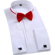 2016 Top Fashion Camisa Dos Homens Vestido de Marca de Manga Longa De Casamento Camisa Formal Bow Tie Plus Size Smoking Dos Homens Botão de Punho Preto camisas(China (Mainland))