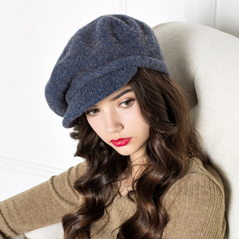 Lady New Autumn Wool Cap Women Knitting Elegant Nifty Painter Cap Restoring Hat British Style Fashion Hat B-4252 the new children s cubs hat qiu dong with cartoon animals knitting wool cap and pile